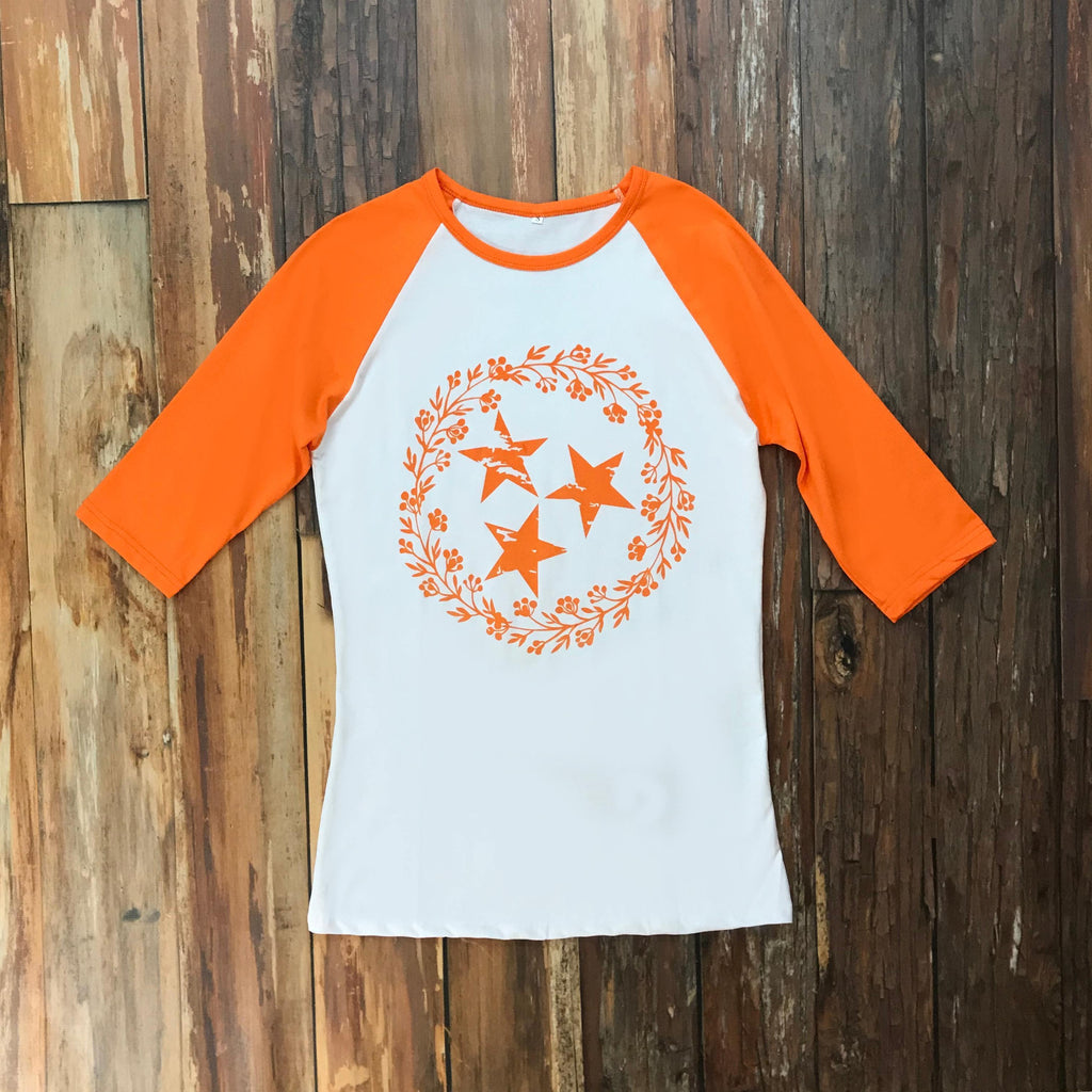 Women's Floral Tri-Star Raglan Tee - Affordable Girls Clothes at Orange Poppy Boutique