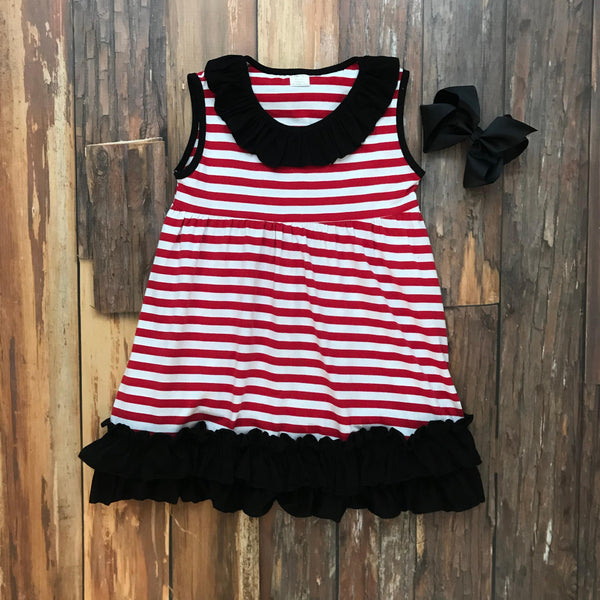 Red & Black Game Day Dress - Orange Poppy Boutique