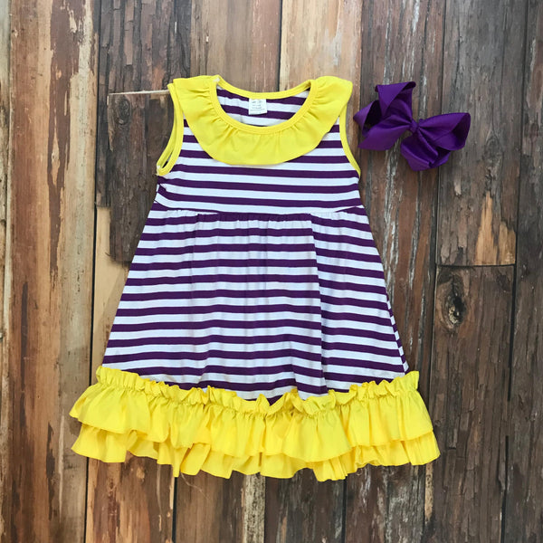 Purple & Yellow Game Day Dress - Orange Poppy Boutique
