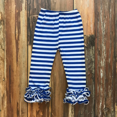 Blue & White Game Day Icing Pants - Orange Poppy Boutique