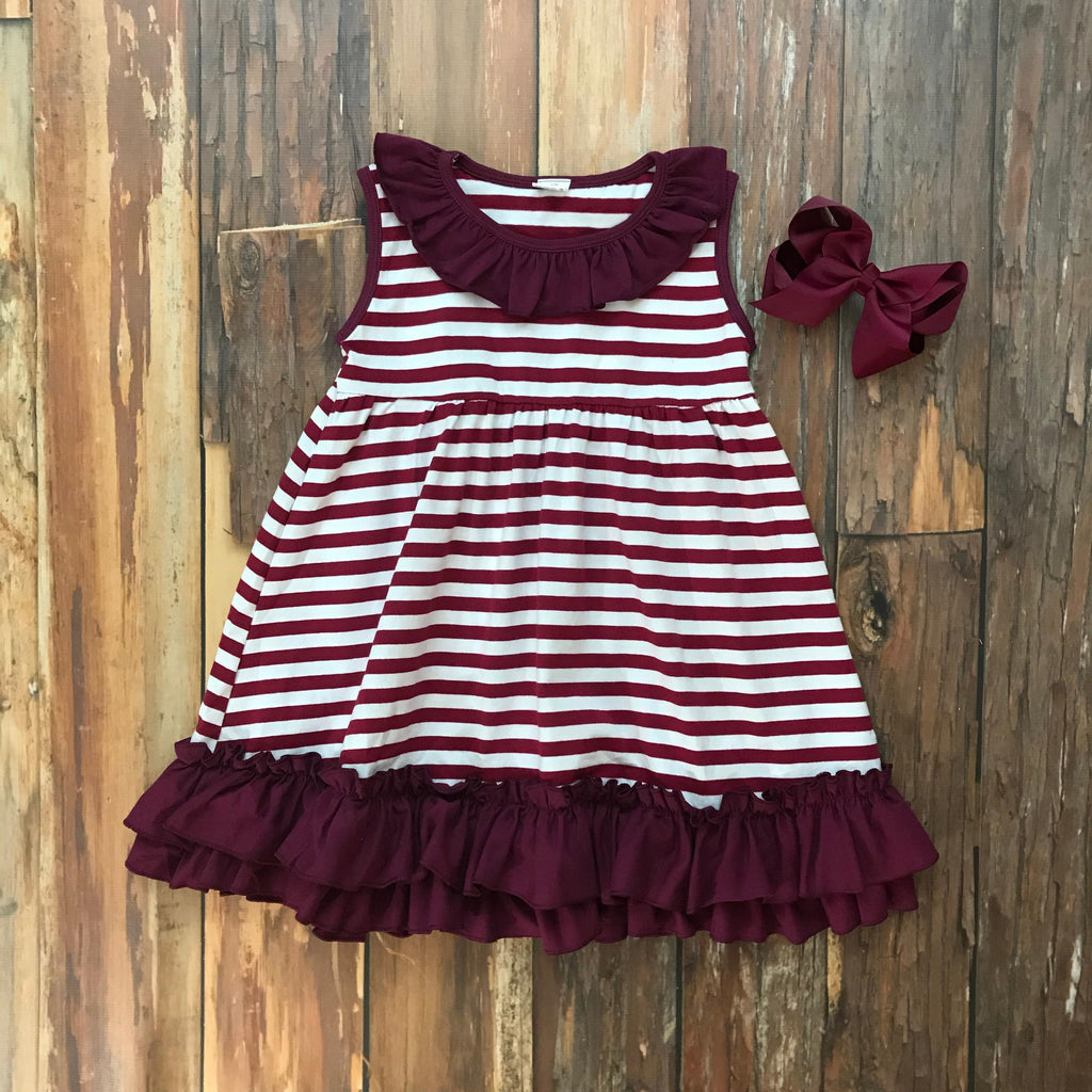 Maroon & White Game Day Dress - Orange Poppy Boutique