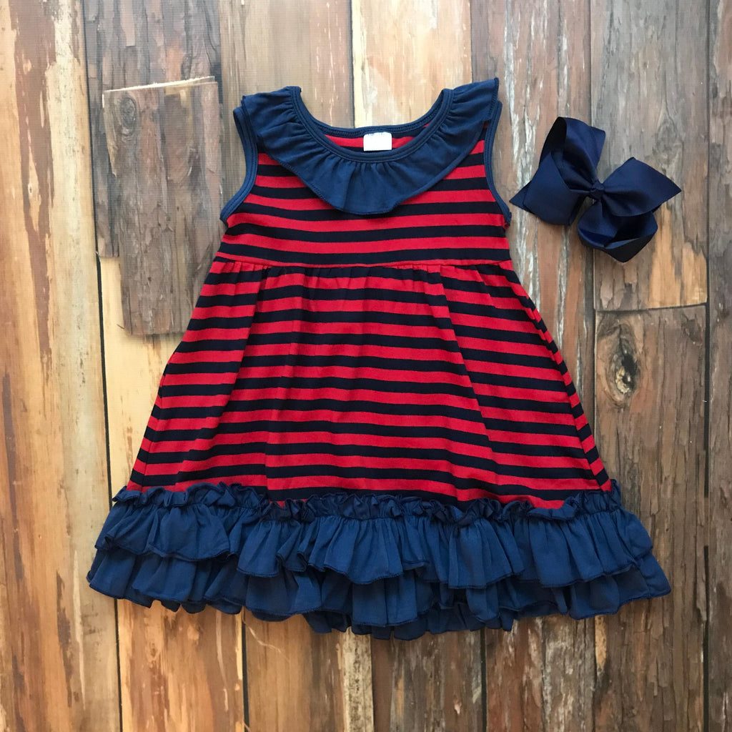 Navy & Red Game Day Dress - Orange Poppy Boutique