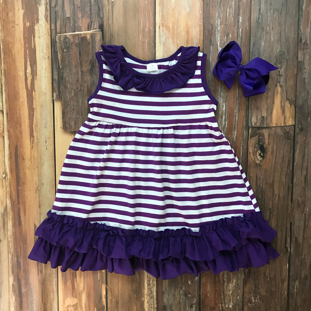 Purple & White Game Day Dress - Orange Poppy Boutique