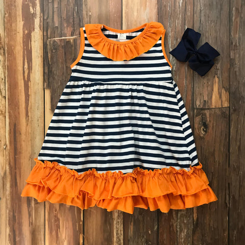 Navy & Orange Game Day Dress - Orange Poppy Boutique