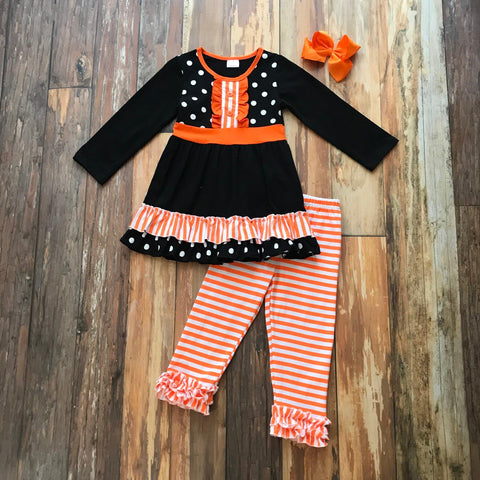 Orange & Black Polkadot Set - Orange Poppy Boutique