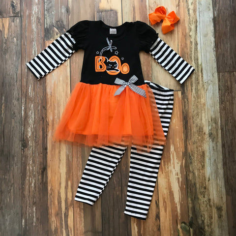 Boo! Tutu Pant Set - Orange Poppy Boutique