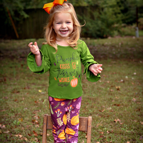 Pumpkin Kisses & Harvest Wishes Pant Set - Orange Poppy Boutique