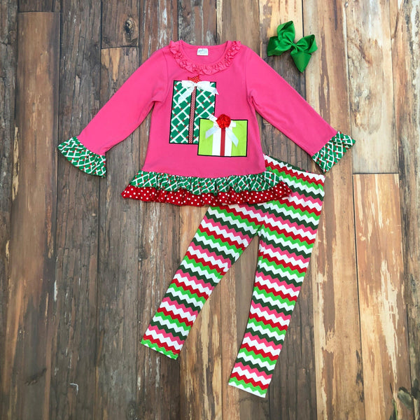 girls pink christmas gift outfit