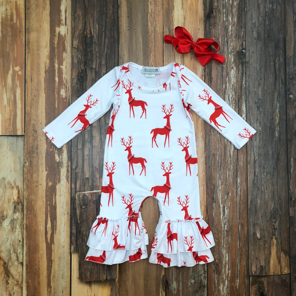 red and white reindeer romper