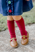 Load image into Gallery viewer, Cable Knee High Socks - Scarlet - Orange Poppy Boutique