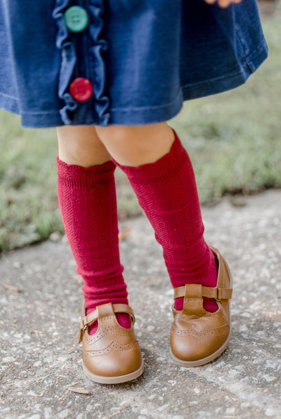 Cable Knee High Socks - Scarlet - Orange Poppy Boutique