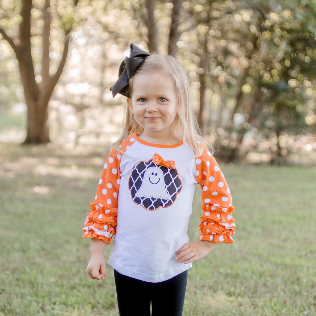 Little Miss Spook Ruffle Raglan - Orange Poppy Boutique
