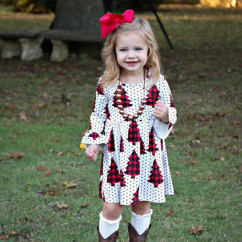 Snowy Tree Farm Dress - Orange Poppy Boutique