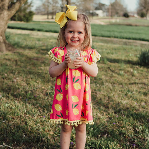 Pink Lemonade PomPom Dress - Orange Poppy Boutique