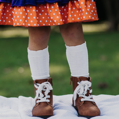 Cable Knee High Socks - White - Orange Poppy Boutique