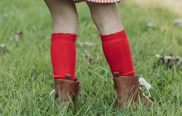 Cable Knee High Socks - Red - Orange Poppy Boutique