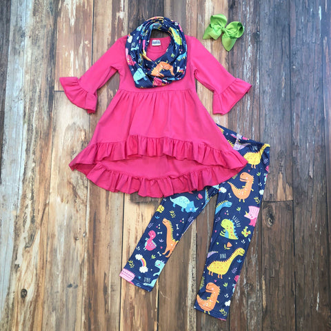 Must Love Dinos Pant Set - Orange Poppy Boutique