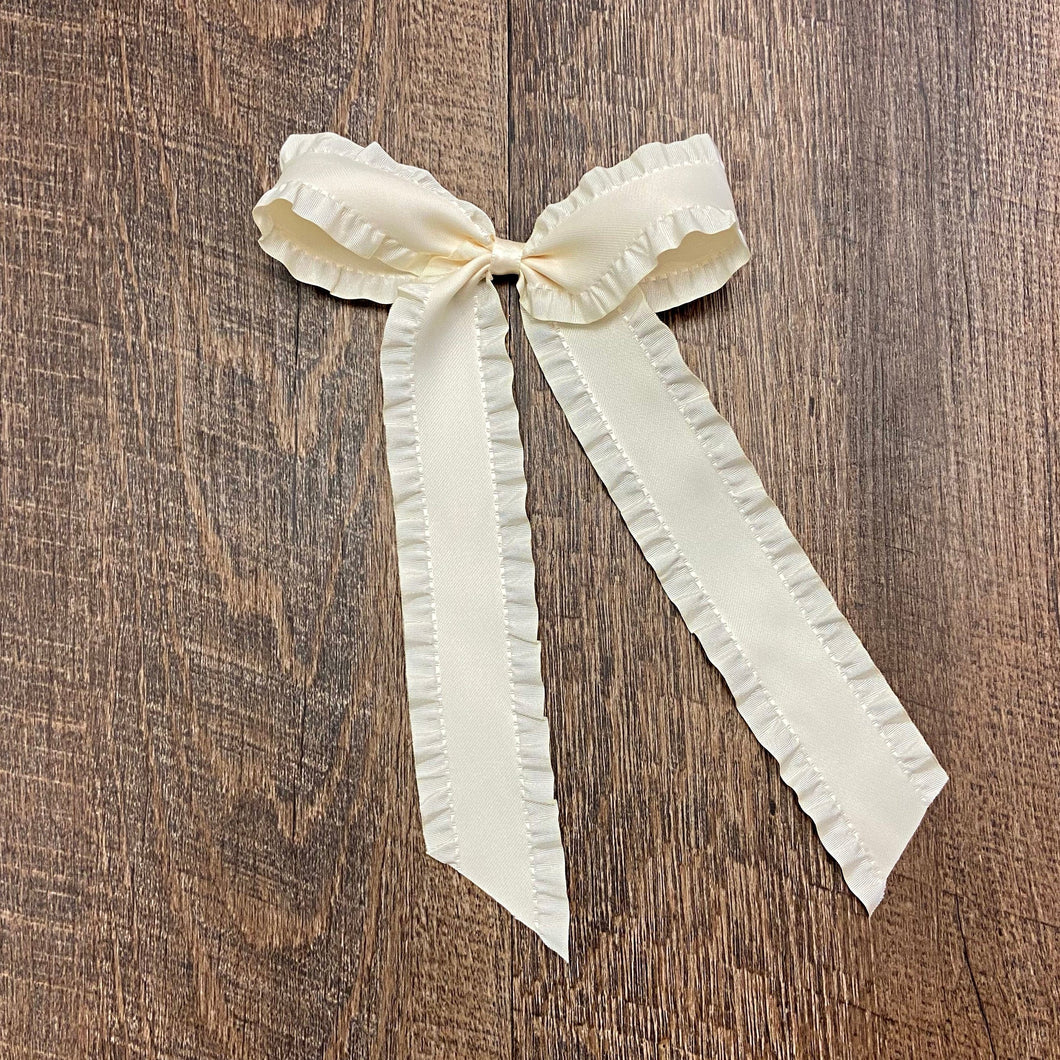 Satin Ruffle Longtail Bow - Cream