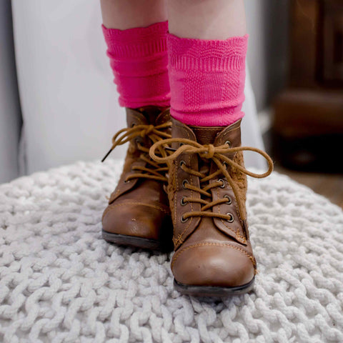 Cable Knee High Socks - Bubblegum - Orange Poppy Boutique