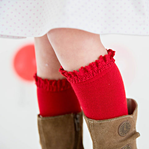 Lace Top Knee High Socks - Cherry Red