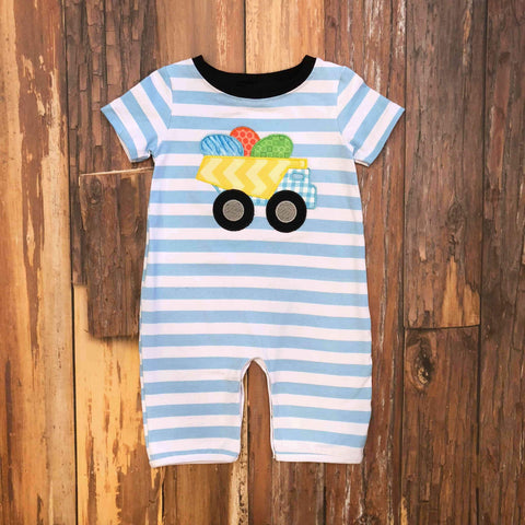Egg Hunt Zone Romper - Orange Poppy Boutique