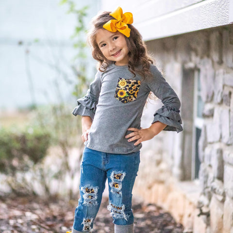 Sunflower Fields Distressed Jean Set