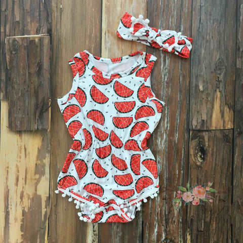 Summer Sweet Pom Pom Romper & Headband Set - Orange Poppy Boutique