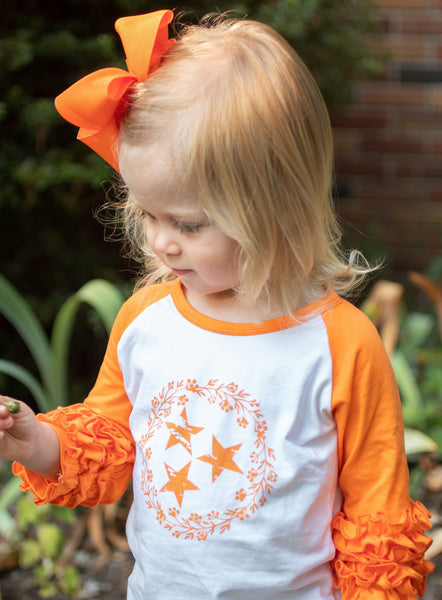 Floral Tri-Star Ruffle Raglan Tee - Orange Poppy Boutique