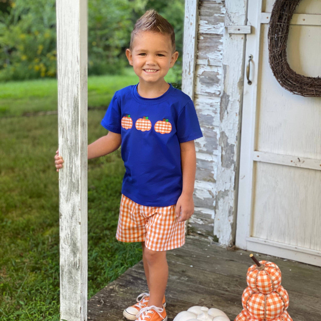 boys pumpkin short set for fall and thanksgiving