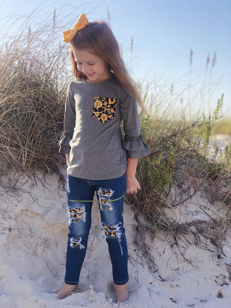 Sunflower Fields Distressed Jean Set - Orange Poppy Boutique