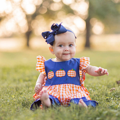 Baby Girl Pumpkin Romper for Fall, Thanksgiving and Halloween