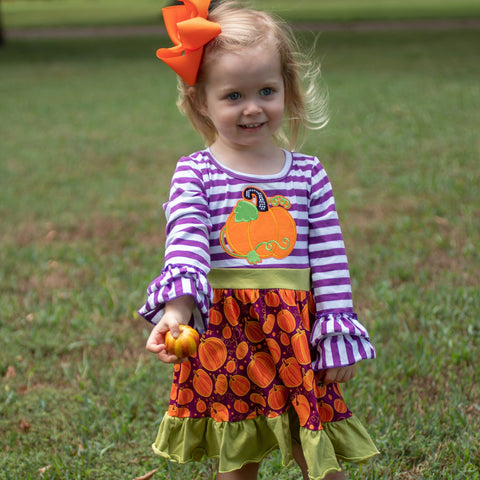 Plumkin Pickin' Ruffle Dress - Orange Poppy Boutique