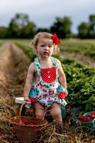 Strawberry Jam Bubble Romper - Orange Poppy Boutique