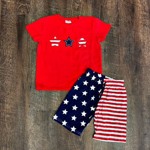 boys 4th of July short set