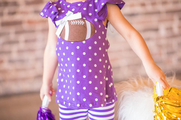 girls purple football applique outfit