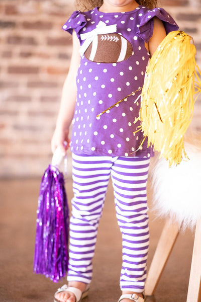 purple and gold girls football outfit