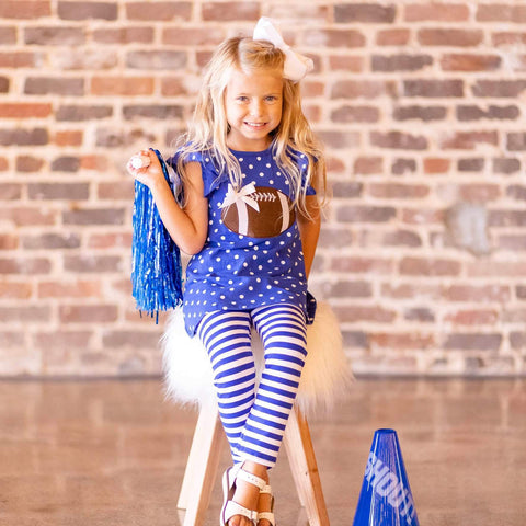 Blue and White Tailgate Tunic Set - Orange Poppy Boutique