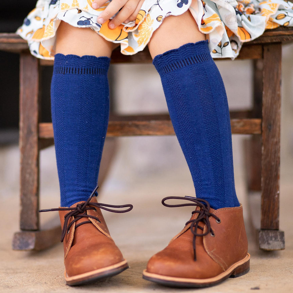 Cable Knee High Socks - Navy - Orange Poppy Boutique