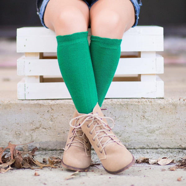 Cable Knee High Socks - Evergreen - Orange Poppy Boutique