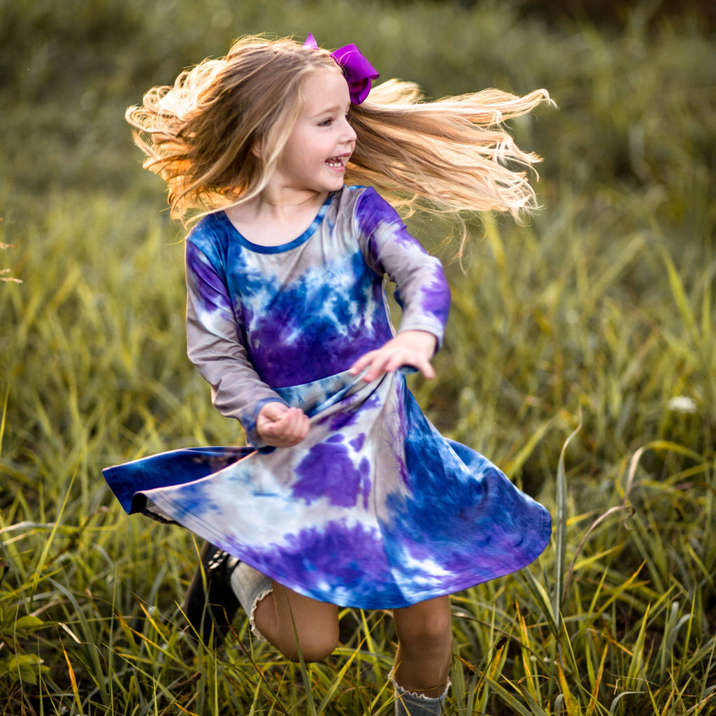 Tie Dye Twirl Dress - Navy, Purple, & Tan