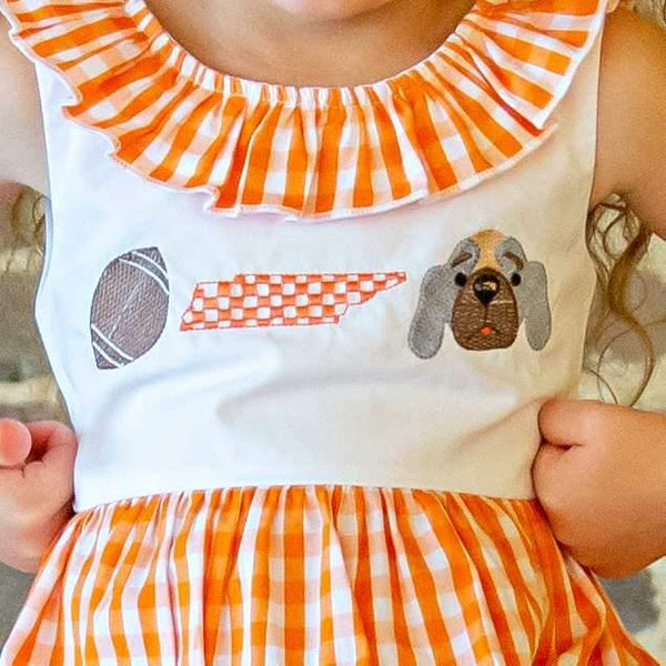 Gingham Hound Dog Dress - Orange Poppy Boutique