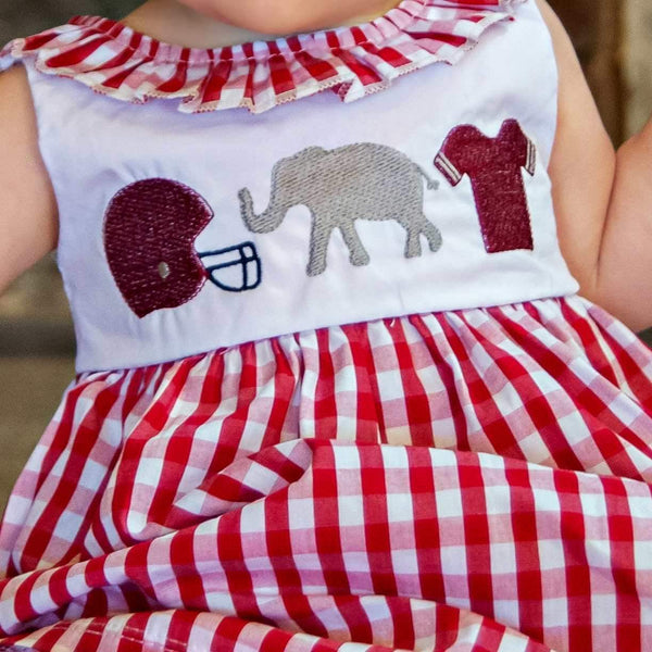Gingham Elephant Dress - Orange Poppy Boutique