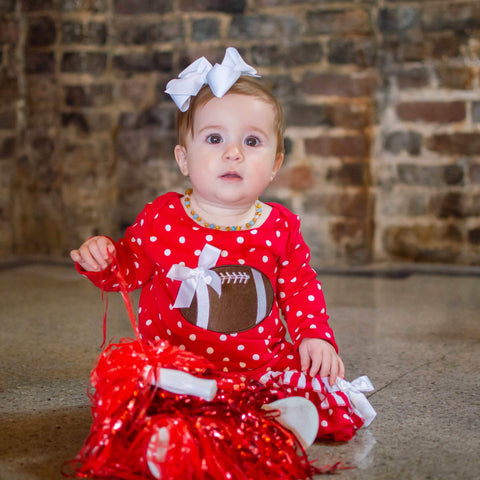 Red and White Tailgate Romper - Orange Poppy Boutique
