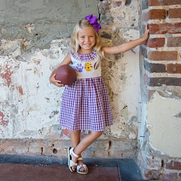 Gingham Tiger Dress - Purple & Gold - Orange Poppy Boutique