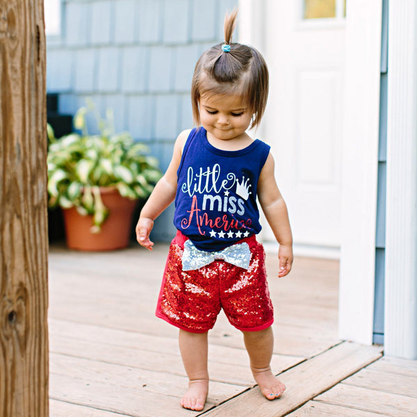 Little Miss America Short Set - Orange Poppy Boutique
