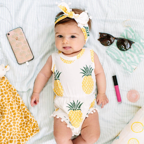 Pineapple Pom Pom Romper & Headband Set - Orange Poppy Boutique