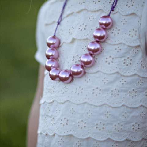 Adjustable Bead Necklace- Fairy Pink - Orange Poppy Boutique