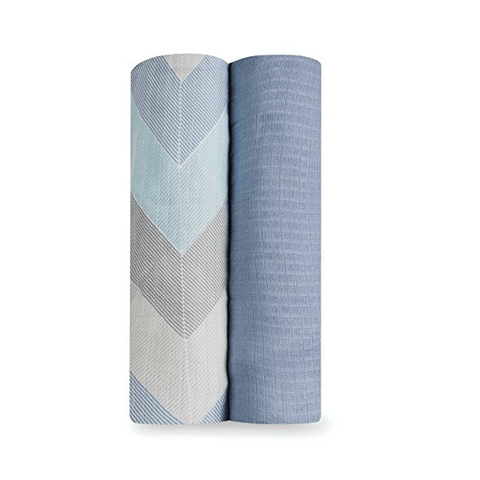 aden+anais 2-pack silky soft swaddles - ziggy blue