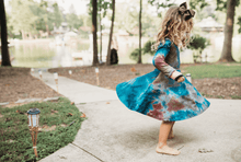 Load image into Gallery viewer, Tie Dye Twirl Dress - Teal & Burgundy