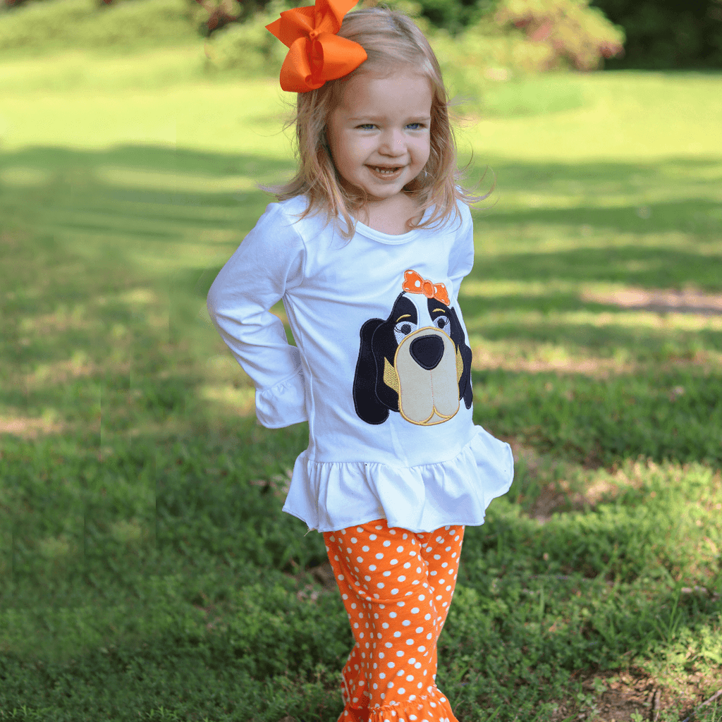 Orange and White Hound Dog Set - Long Sleeve - Orange Poppy Boutique